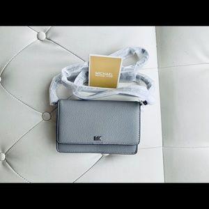 NWT Michael Kors Leather pearl gray Crossbody Bag